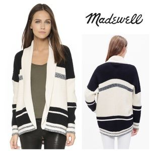 Madewell  White Striped Cocoon Cardigan Sweater
